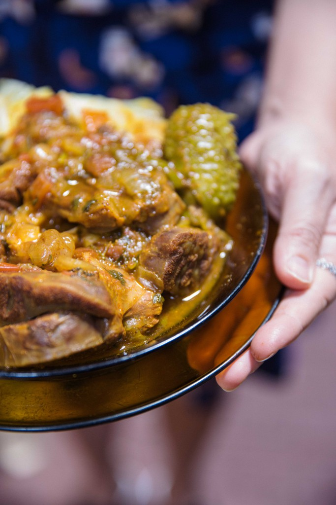 Chambaril, an oxtail stew with carrots, gherkins and cabbage