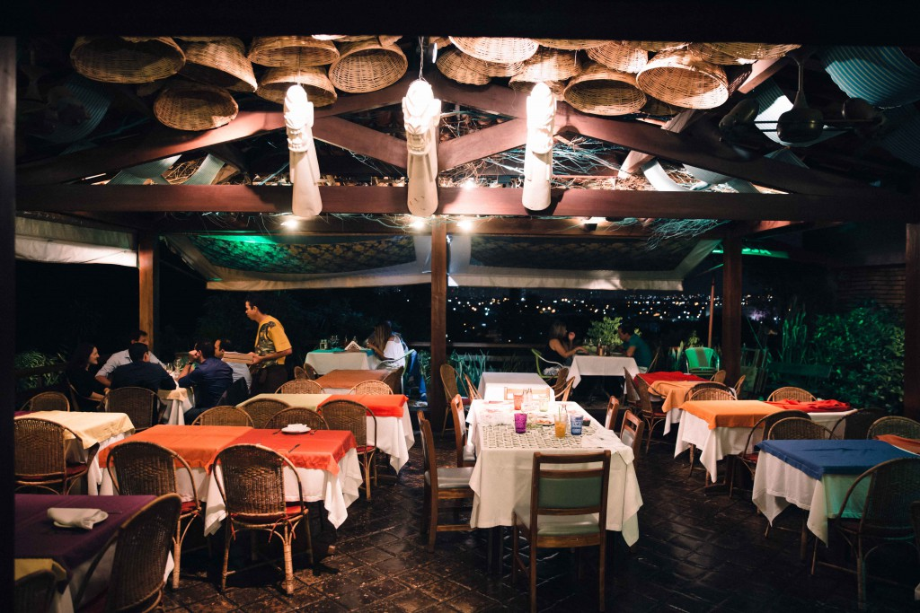 The restaurant opens to a beautiful yard overlooking the city of Recife