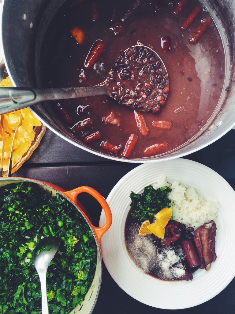 Feijoada cooking with Rogerio