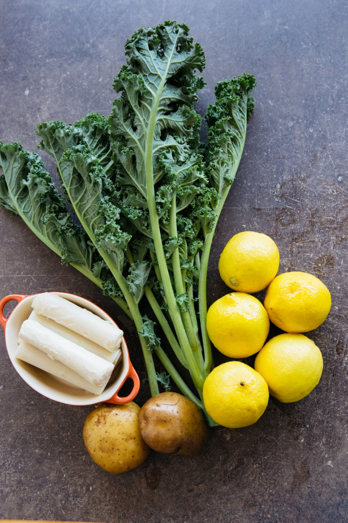 Ingredients used for caldo verde my version