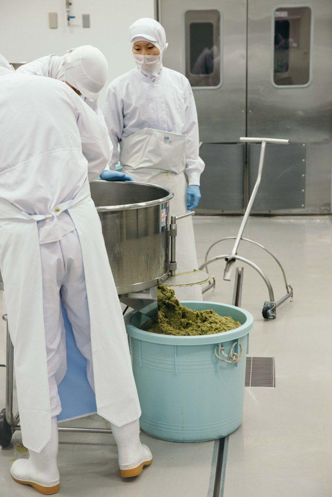 Production of yuzukosho. This is green yuzukosho made from green chillies and green yuzu peel (unripe yuzu)