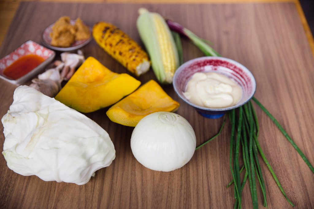Ingredients used for grilled corn chowder champon style
