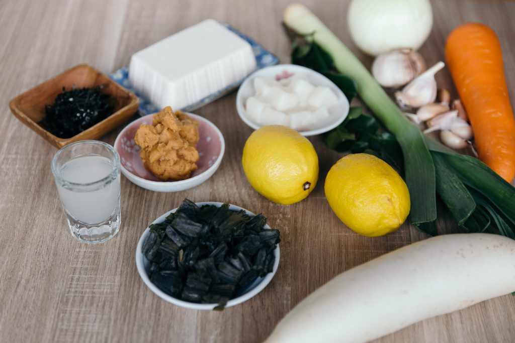 Ingredients used for barramundi miso arajiru