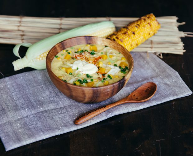 Grilled corn chowder champon style