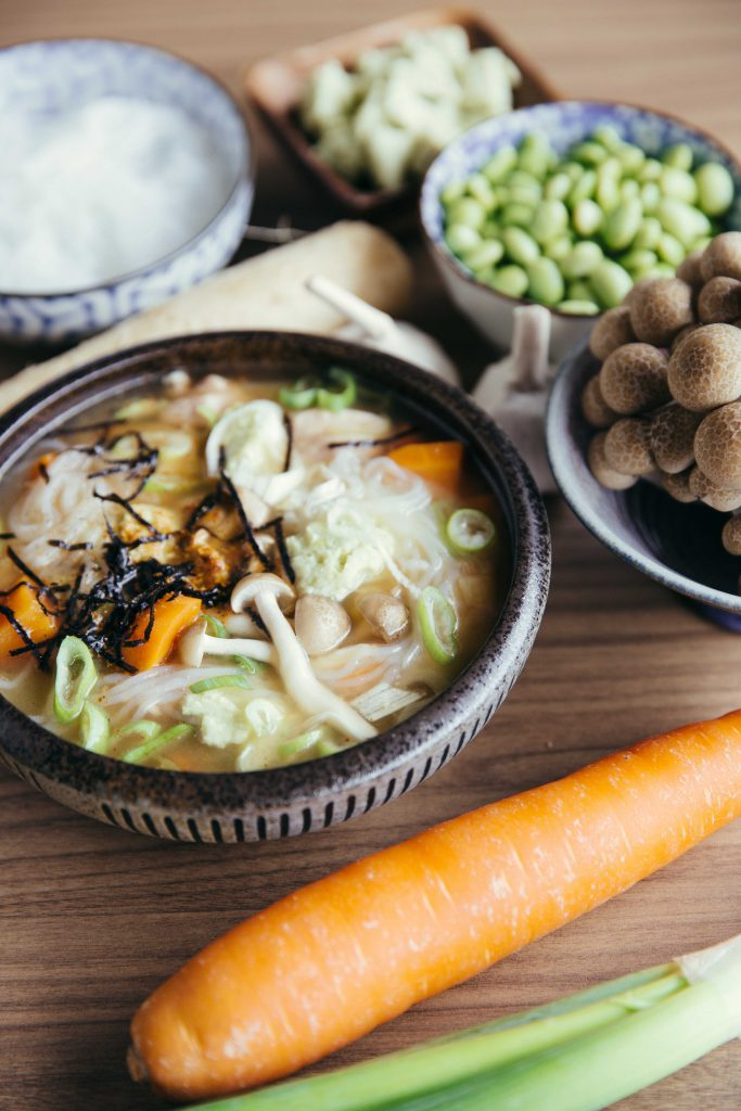 """Ingredients for Edamame """"Tofu"""" with Chicken Miso."""